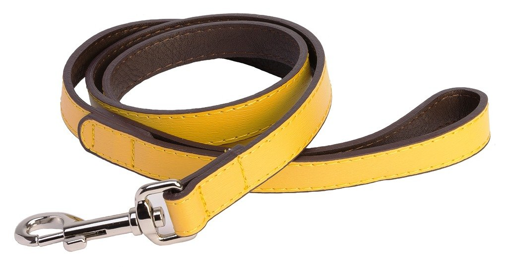 Accent Leather Dog Lead In Yellow - Posh Pawz Fashion