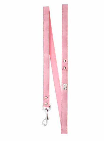 Pink Leather Diamante Bone Dog Lead - Posh Pawz Fashion