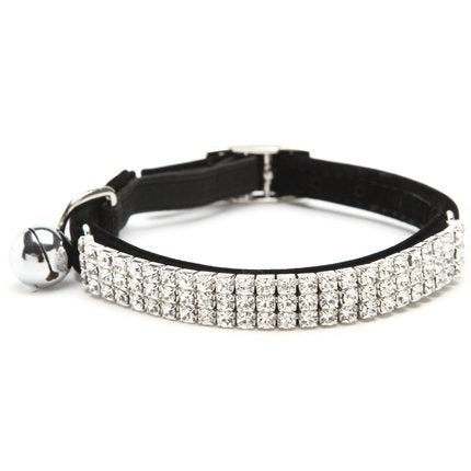 Black Velvet Rhinestone Crystal Cat Collar - Posh Pawz Fashion
