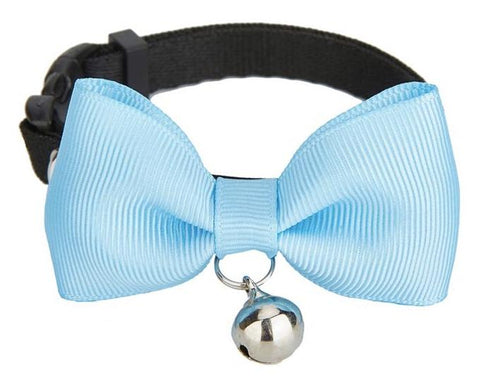Sky Blue Handmade Bow Tie Cat Collar - Posh Pawz Fashion