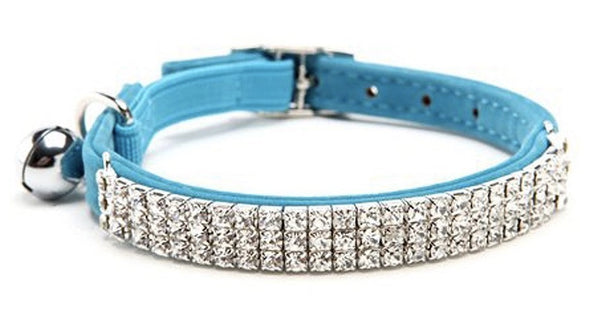Blue Velvet Rhinestone Crystal Cat Collar - Posh Pawz Fashion