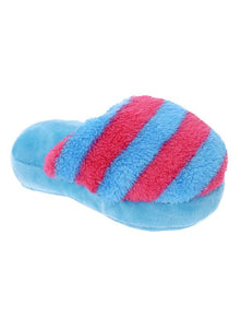 Blue Striped Slipper Plush And Squeaky Dog Toy - Posh Pawz Fashion