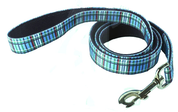 Blue Tartan Plaid Padded Designer Dog Lead - Posh Pawz Fashion