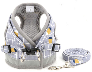Grey No Pull Vest Dog Harness And Lead Set - Posh Pawz Fashion