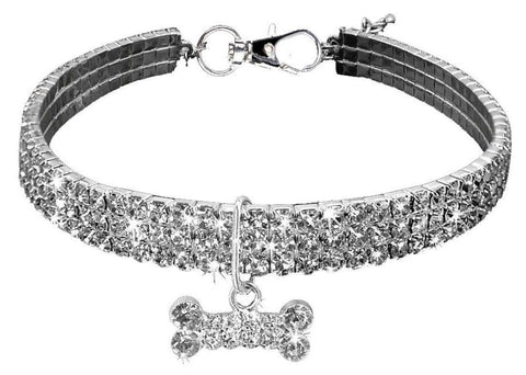 Clear Rhinestone Crystal Pet Necklace With Bone Pendant - Posh Pawz Fashion