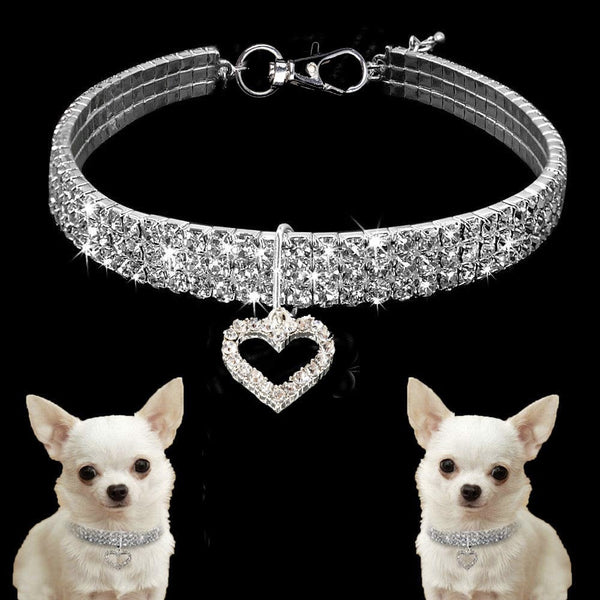 Clear Rhinestone Crystal Pet Necklace With Heart Pendant - Posh Pawz Fashion