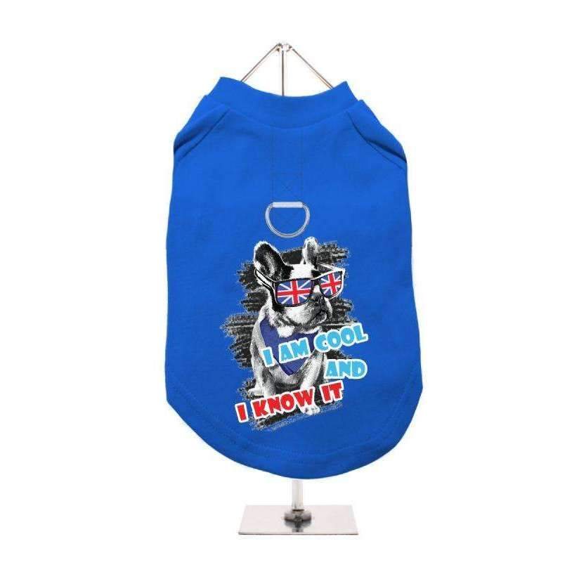 I'm Cool And I Know It Harness Lined Dog T-Shirt Blue - Posh Pawz Fashion