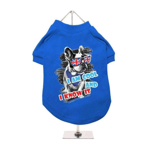 I'm Cool And I Know It Dog T-Shirt In Blue - Posh Pawz Fashion