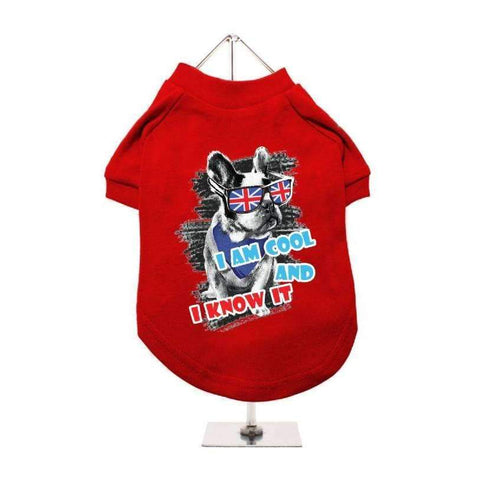 I'm Cool And I Know It Dog T-Shirt In Red - Posh Pawz Fashion