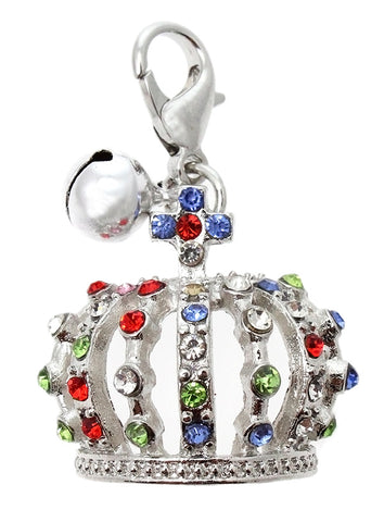Crown Jewels Dog Collar Charm In Silver - Posh Pawz Fashion