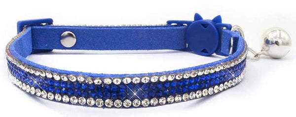 Crystal Microsuede Cat Collar In Blue - Posh Pawz Fashion