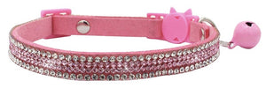 Crystal Microsuede Cat Collar In Pink - Posh Pawz Fashion