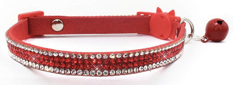 Crystal Microsuede Cat Collar In Red - Posh Pawz Fashion