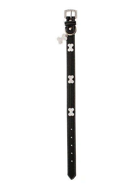 Black Leather Diamante Dog Collar And Bone Charm - Posh Pawz Fashion
