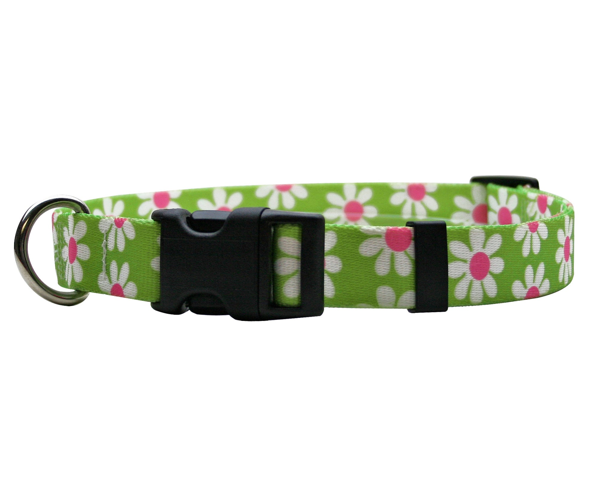 Daisy Daisy Adjustable Designer Dog Collar In Green - Posh Pawz Fashion
