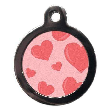 Pink Love Hearts Dog ID Tag - Poochie Fashion