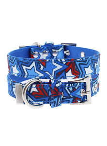 Hero Star Designer Fabric Dog Collar - Posh Pawz Fashion