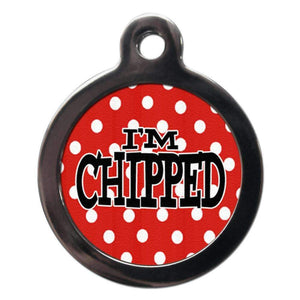 I'm Chipped Red Polka Dot Dog ID Tag - Posh Pawz Fashion