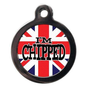 I'm Chipped Union Jack Dog ID Tag - Poochie Fashion