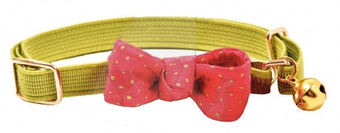 Funky Bow Luxury Cat Collar in Lime Green - Posh Pawz Fashion