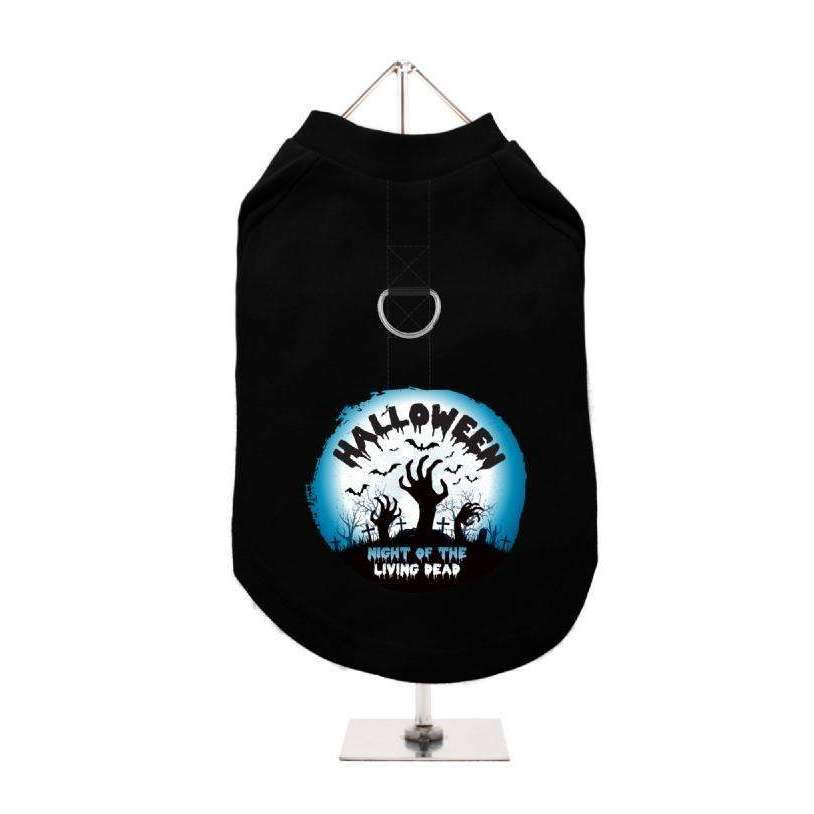 Halloween Night Of The Living Dead Harness Lined Dog T-Shirt - Posh Pawz Fashion