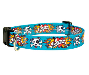 I Love My Dog Tattoo Adjustable Designer Dog Collar In Blue - Posh Pawz Fashion