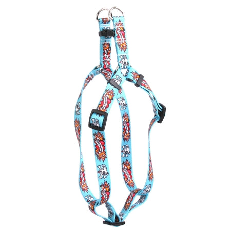 I Love My Dog Tattoo Adjustable Step In Dog Harness In Blue - Posh Pawz Fashion