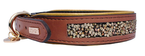 Luxury Leather Gemstone Dog Collar - Golden Amber - Posh Pawz Fashion