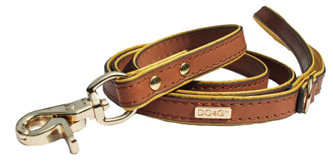 Luxury Leather Dog Lead - Golden Amber - Posh Pawz Fashion