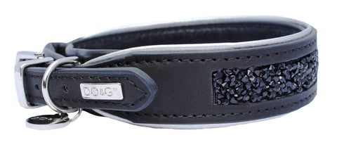 Luxury Leather Gemstone Dog Collar - Jet Black - Posh Pawz Fashion