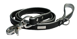 Manhattan Luxury Designer Leather Dog Lead In Black - Posh Pawz Fashion