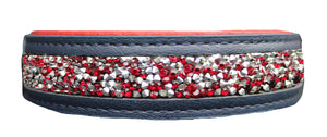 Luxury Leather Gemstone Dog Collar - Ruby Blues - Posh Pawz Fashion