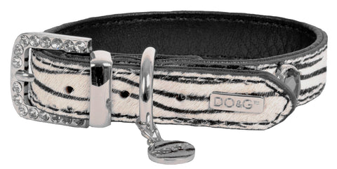 Luxury Leather Zebra Dog Collar - Posh Pawz Fashion
