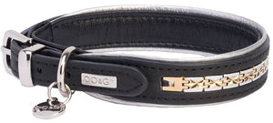 Manhattan Leather Designer Dog Collar In Black - Posh Pawz Fashion