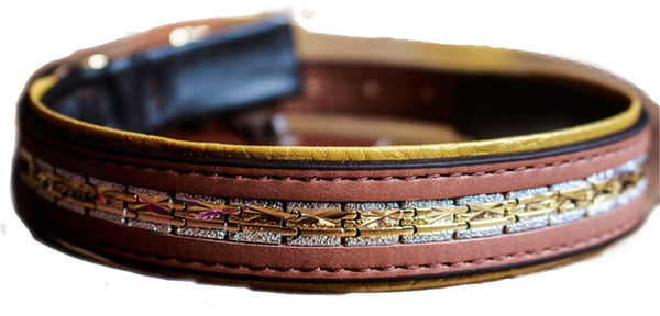 Manhattan Leather Designer Dog Collar In Brown - Posh Pawz Fashion