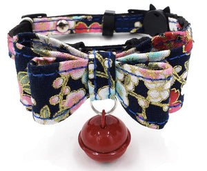Black Blossom Floral Bow Cat Collar - Posh Pawz Fashion