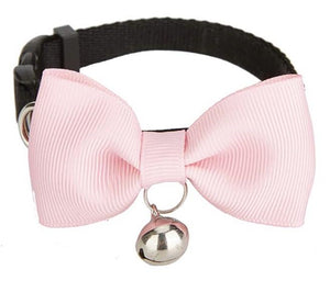Pink Handmade Bow Tie Cat Collar - Posh Pawz Fashion