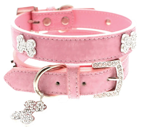 Pink Leather Diamante Dog Collar And Bone Charm - Posh Pawz Fashion