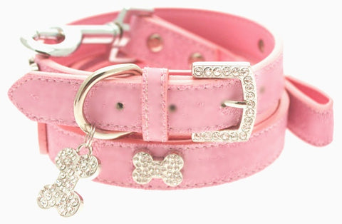 Pink Leather Diamante Bone Dog Collar And Lead Set - Posh Pawz Fashion