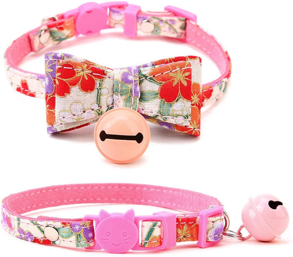 Pink Blossom Floral Bow Cat Collar