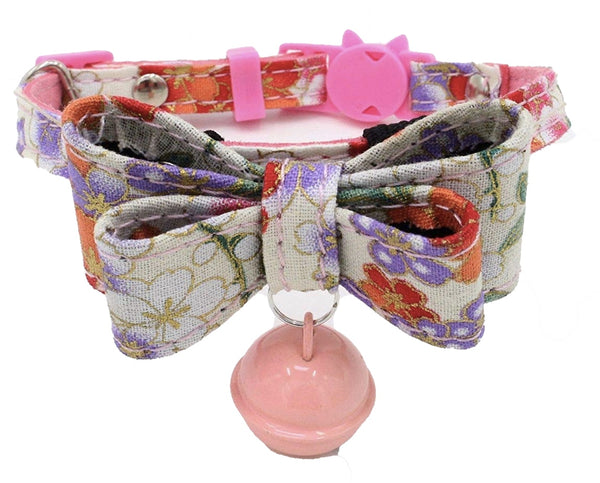 Pink Blossom Floral Bow Cat Collar - Posh Pawz Fashion