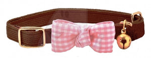 Funky Bow Luxury Cat Collar in Chocolate Brown - Posh Pawz Fashion
