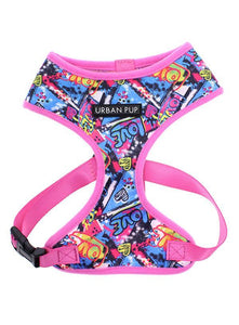 Pink Grafitti Designer Dog Harness- Posh Pawz Fashion