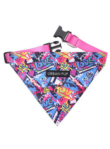Pink Grafitti Fabric Dog Bandana Collar - Posh Pawz Fashion