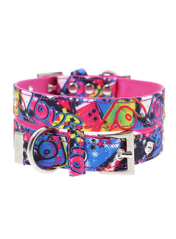 Pink Grafitti Designer Fabric Dog Collar - Posh Pawz Fashion