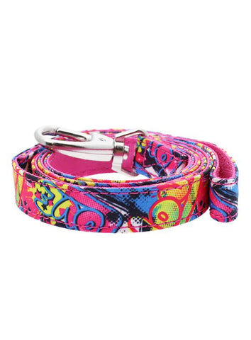 Pink Grafitti Designer Fabric Dog Lead - Posh Pawz Fashion