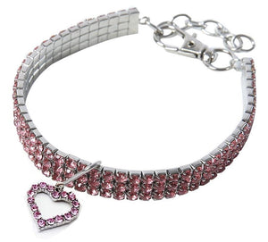 Pink Rhinestone Crystal Pet Necklace With Heart Pendant - Posh Pawz Fashion
