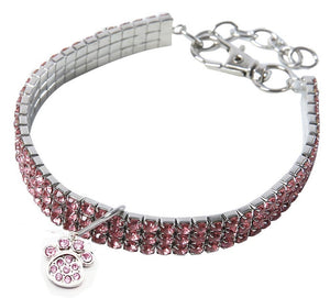 Pink Rhinestone Crystal Pet Necklace With Paw Pendant - Posh Pawz Fashion
