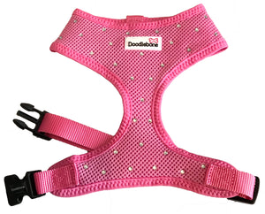Swarovski Crystal Soft Mesh Dog Harness In Pink- Sale