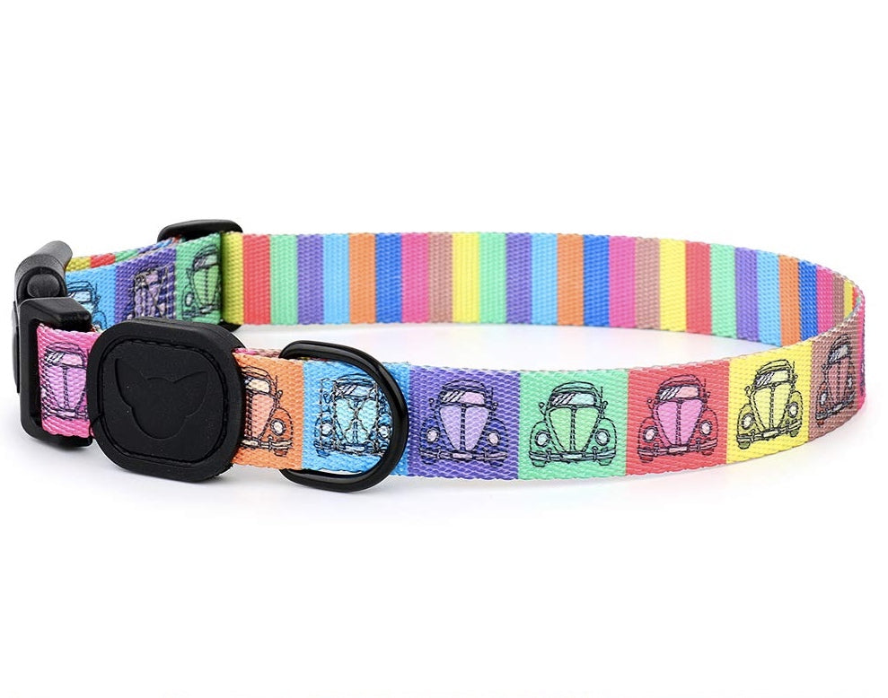 Pop Art Cars Printed Designer Dog Collar - Posh Pawz Fashion